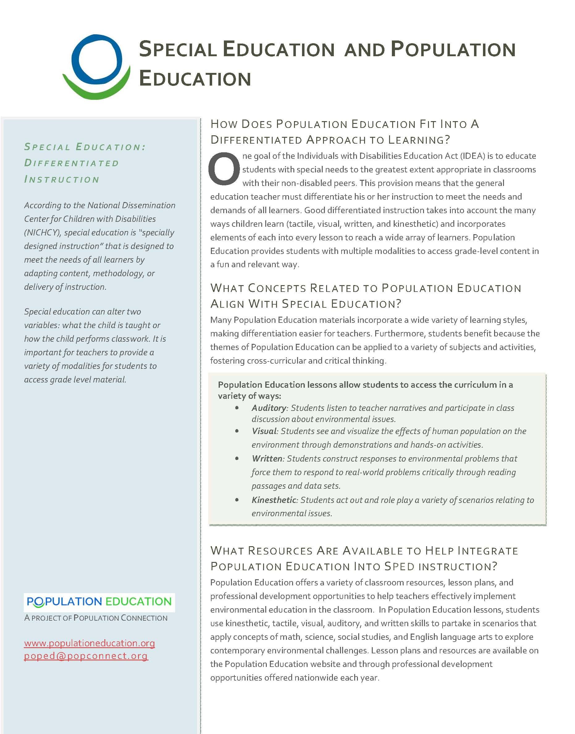 Articles Factsheets Book Lists Population Education
