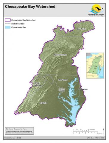 Map of the Chesapeake Bay watershed (CBF)