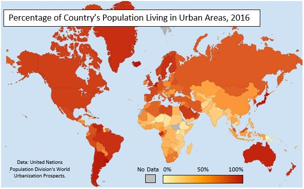 Choropleth Map of Urbanization by Country in 2016