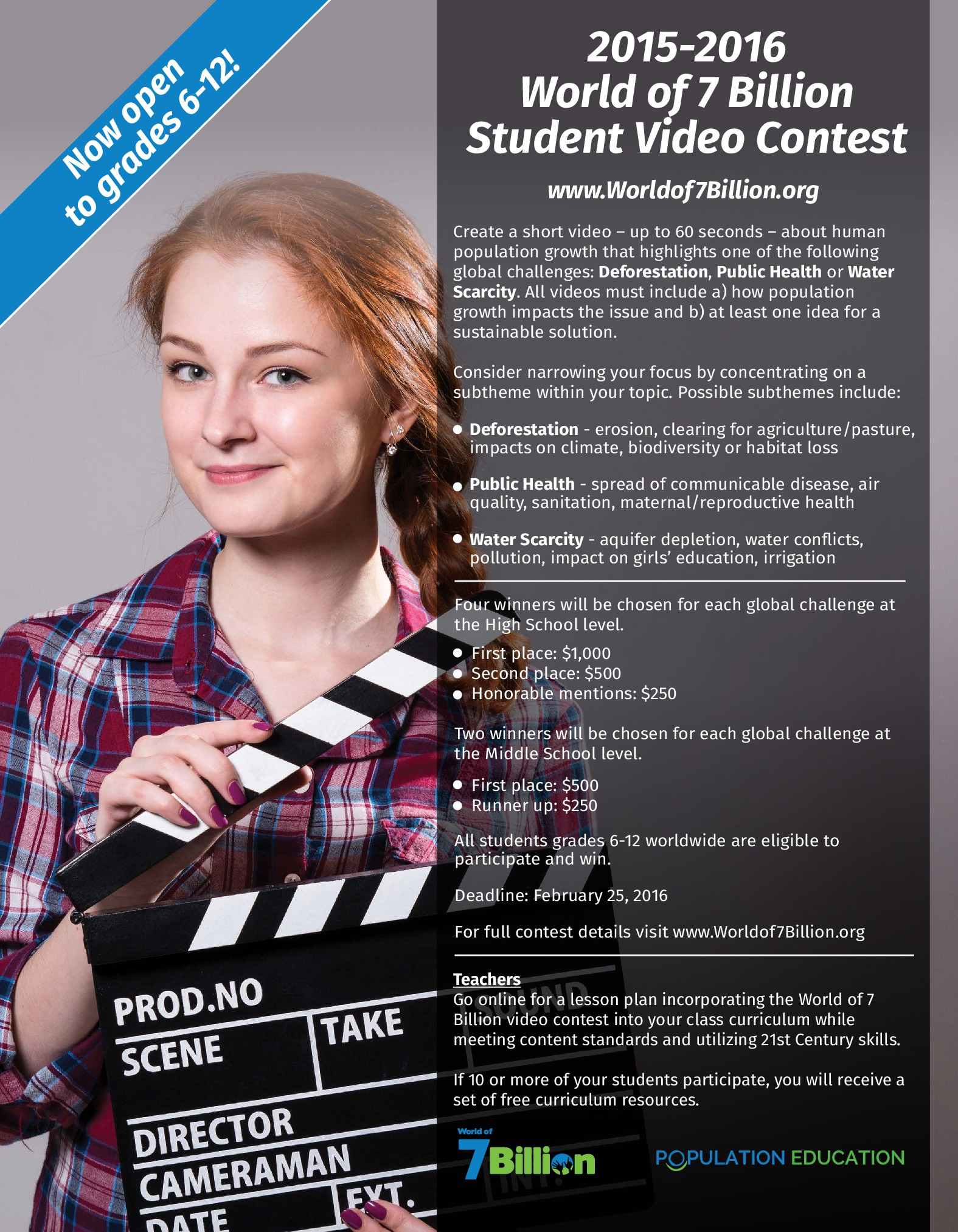 World of 7 Billion student video contest flyer