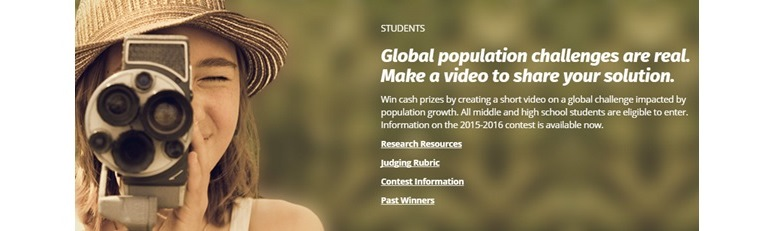 Info banner from the World of 7 Billion video contest