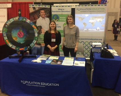 Population Education staff at booth during the 2016 NCSS conference.
