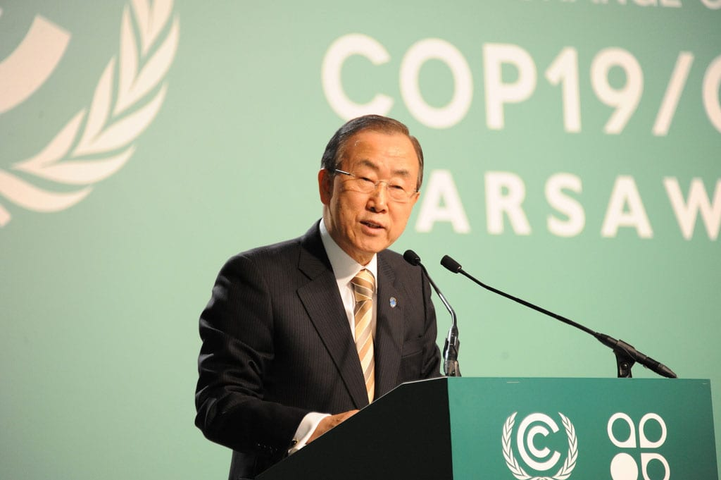 UN Secretary General Ban Ki-moon at climate framework conference in Warsaw