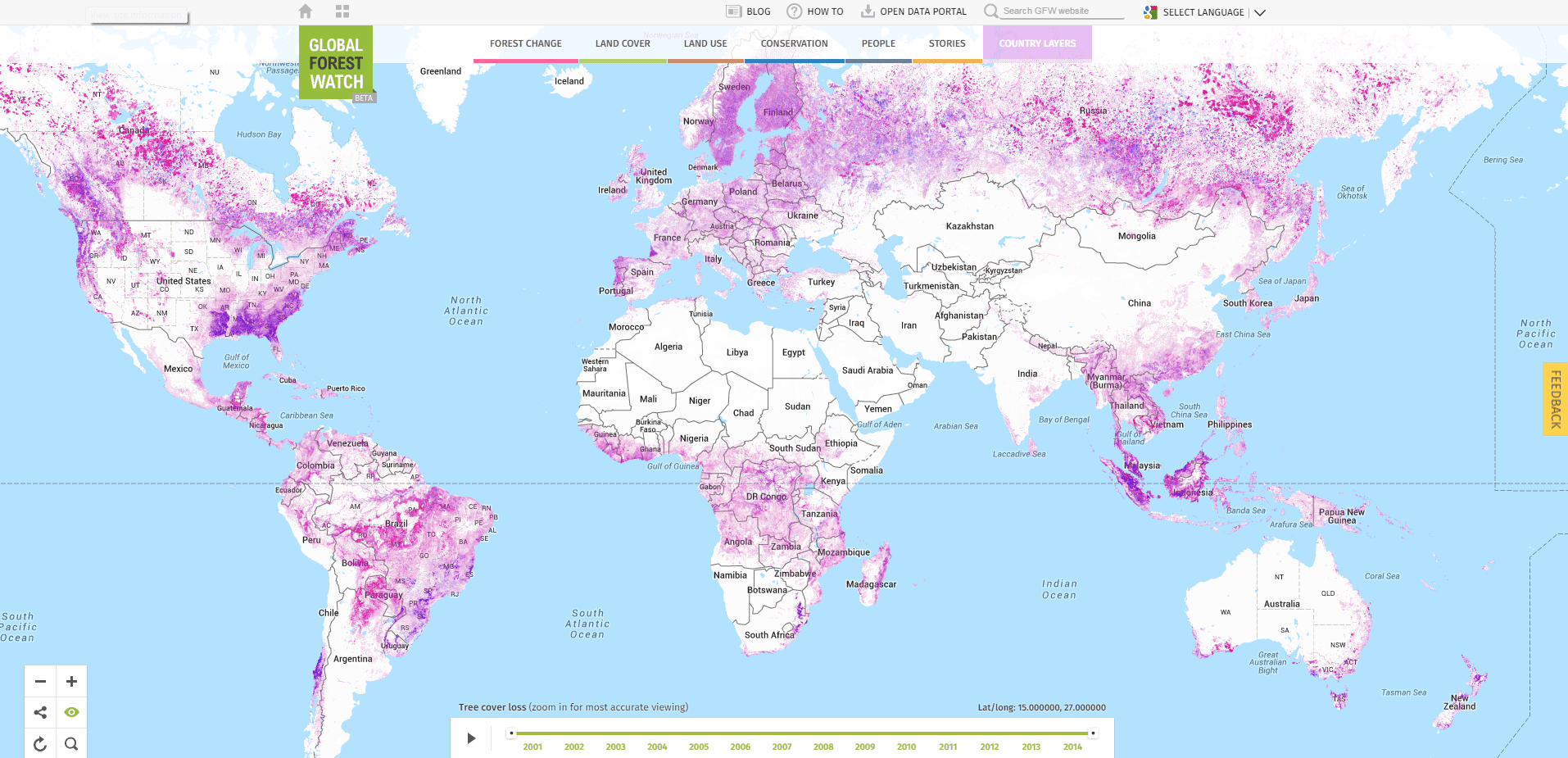 Site Lets Visitors Visualize Global Deforestation In Real ... Global Deforestation Map on global mining map, global unemployment map, global sea level rise map, global peace map, global famine map, global overfishing map, global wildlife map, global markets map, global culture map, global technology map, global urbanization map, global finance map, global africa map, global carbon footprint map, global world map, global hurricanes map, global china map, global salinity map, global food security map, global biomass map,