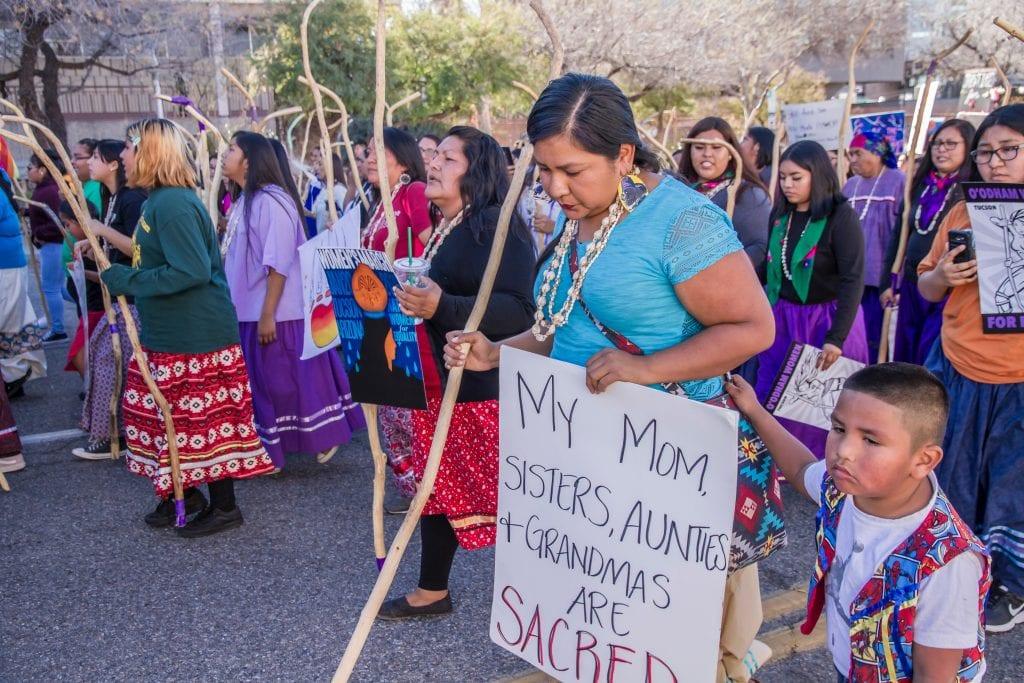Tohono women march in Tuscon, Arizona