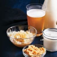 Fermented foods such as kombucha, kefir, yogurt, kimchi, and miso