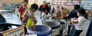 Students separating food in a school cafeteria
