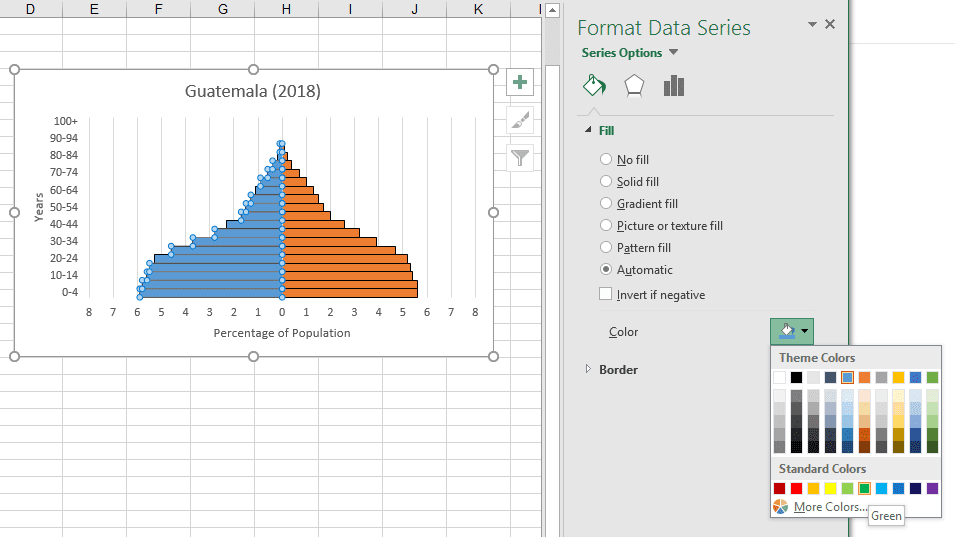 how to build a population pyramid in excel step by step guide