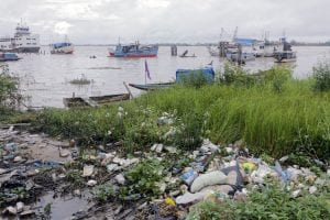Pollution on the banks of the Suriname River.