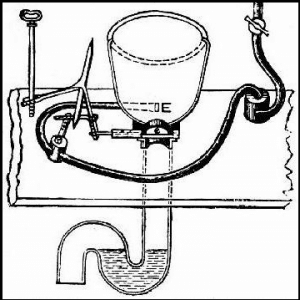 Schematic of Alexander Cumming's 1775 patent for the S-trap