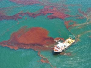 A boat skims oil from the water in the Gulf of Mexico