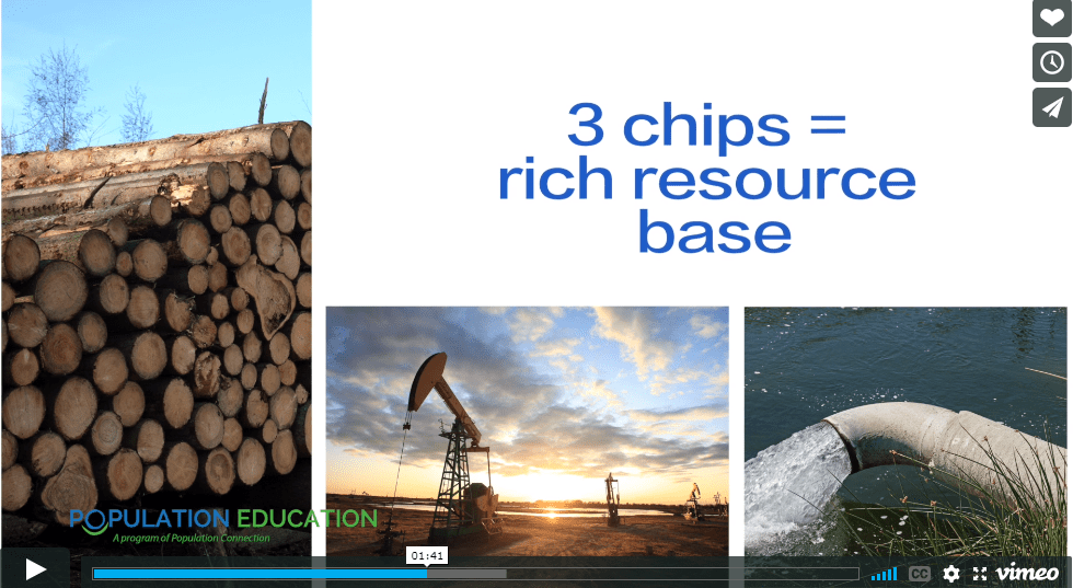 "Screenshot of video lesson plan ""Chips of Trade"" showing comparison of chips to resource abundance"