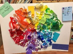 Color wheel made of colorful trash