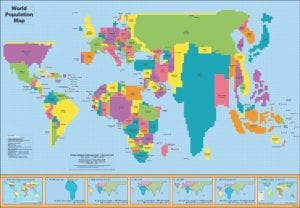 Cartogram map of global population