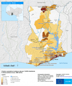 Map showing incidence rate of cholera in Ghana, 1998–2013