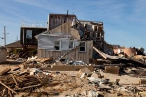 Home in Seaside Heights NJ damaged by hurricane Sandy