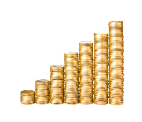 Stacks of coins from small amount to large amount