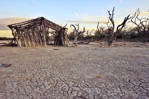 A former dwelling in a drought-affected area of the Chaco region, Paraguay.