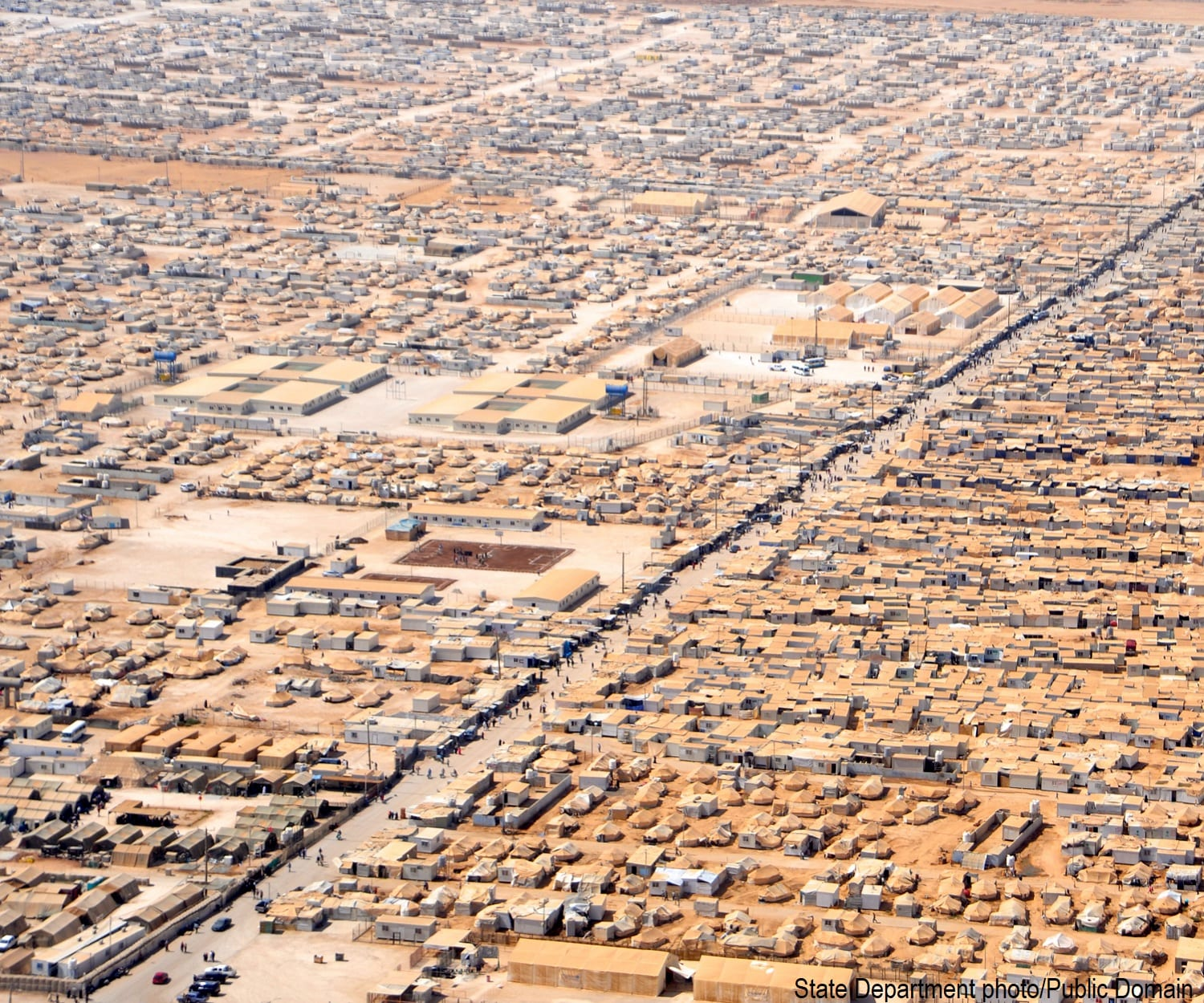Aerial view of the Zaatari refugee camp in Jordan. The world's largest camp of Syrian refugees.