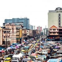 Busy street in Lagos Nigeria