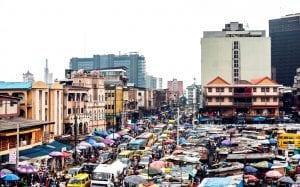 Busy street in Lagos Nigeria