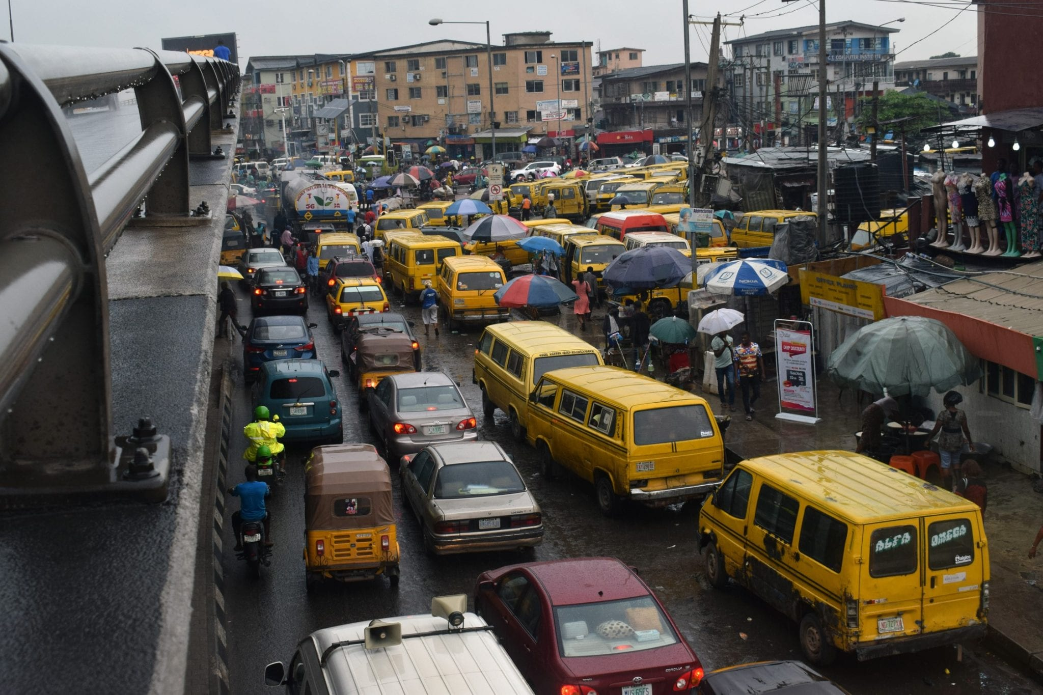 Yaba, Lagos, Nigeria - A view under bridge of Ojuelegba