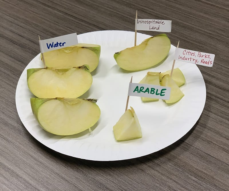 Apple slices represent different areas of the Earth: water, inhospitable land, used arable land, and arable land for farming