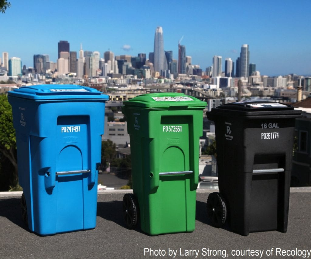 Recycling, compost and garbage bins in San Fransisco