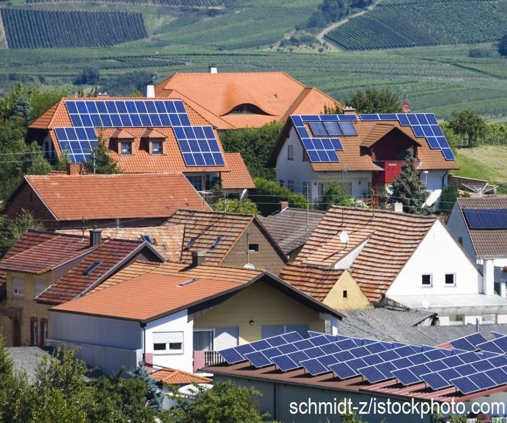Roofs in a German town covered with solar panels.