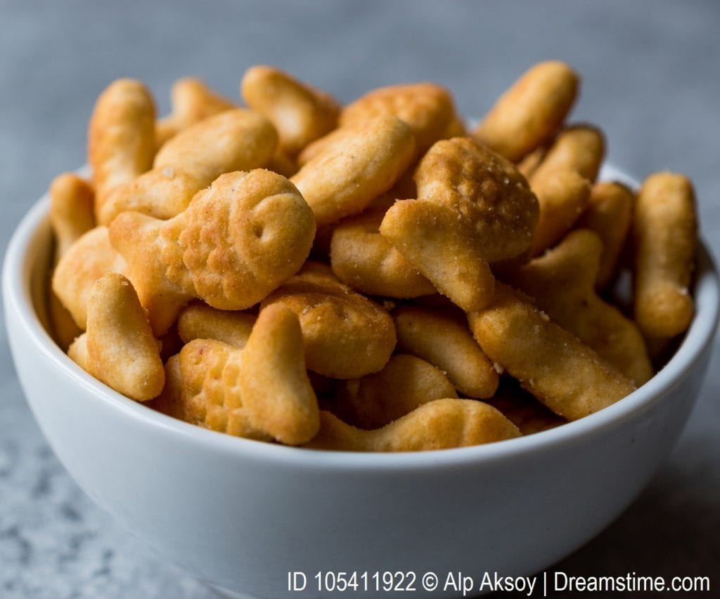 Goldfish crackers in a bowl that would be distributed through the activity.