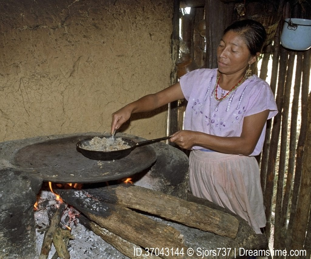 A woman in Guatemala using an indoor stove to prepare food.