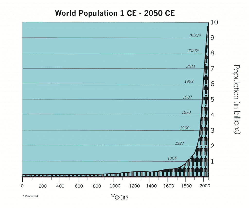A graph showing the growth of human population from 0 CE to the current day.