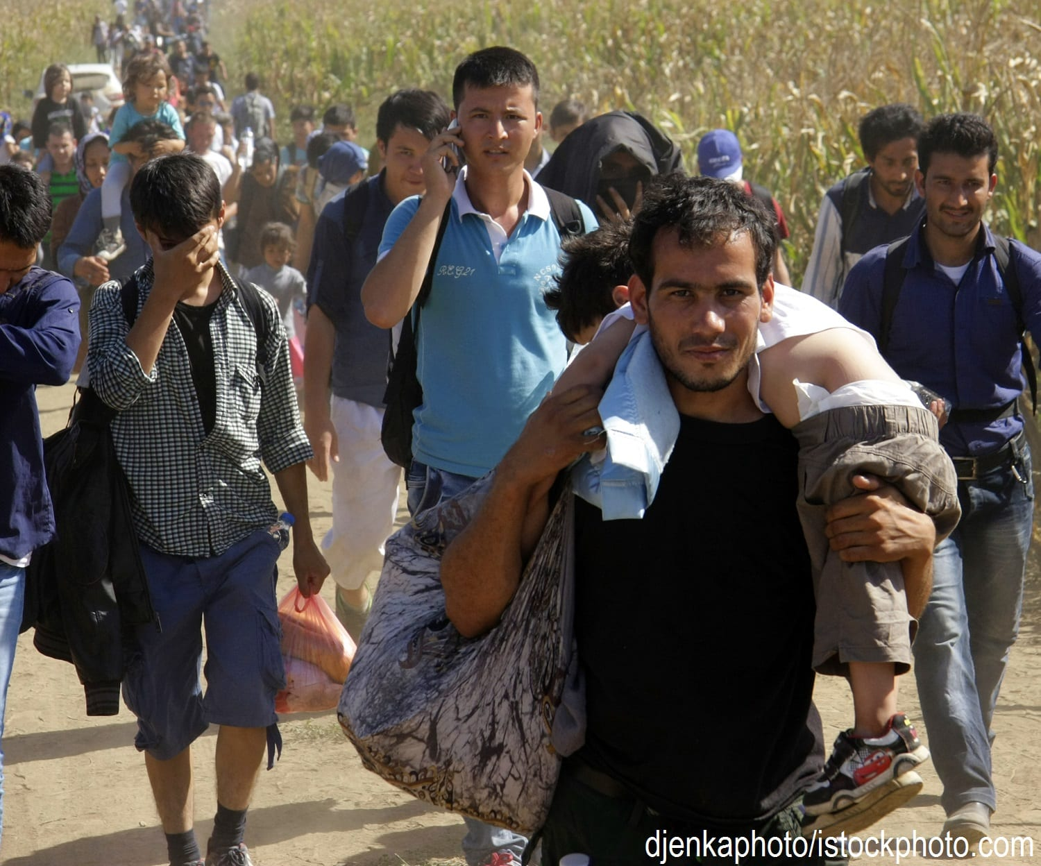 Refugees from Syria walking from Croatia to Serbia.