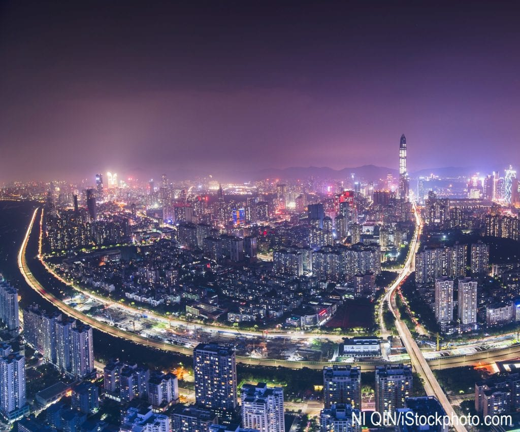 The skyline of Shenzhen in southern China at night.