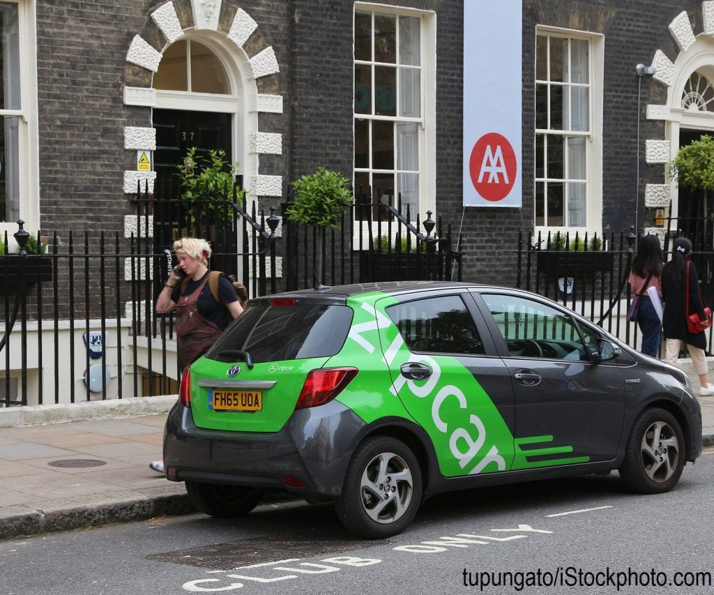 A zipcar on the street in London, England.