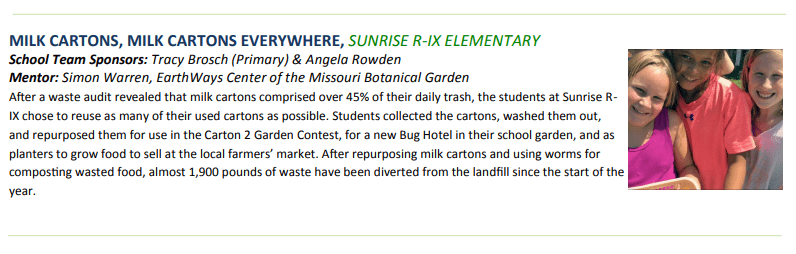 'Milk Cartons, Milk Cartons Everywhere' is a waste reduction project facilitated at Sunrise R-IX Elementary School