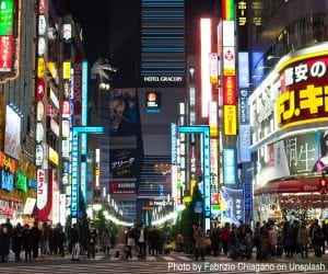 Tokyo, one of the world's megacities, crowded at night