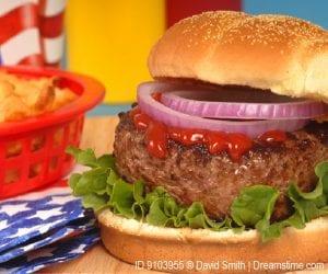 Hamburger on bun