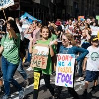 Middle school students marching in New York's Climate Strike