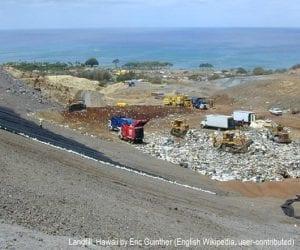Modern landfill operation at Waimanalo Gulch, the municipal sanitary landfill for Honolulu