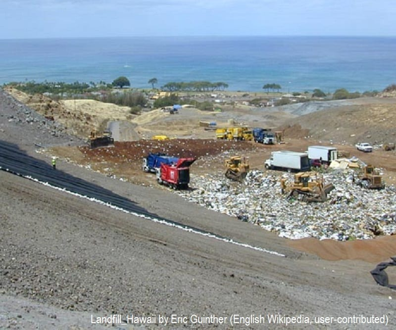 Modern landfill operation at Waimanalo Gulch, the municipal sanitary landfill for Honolulu