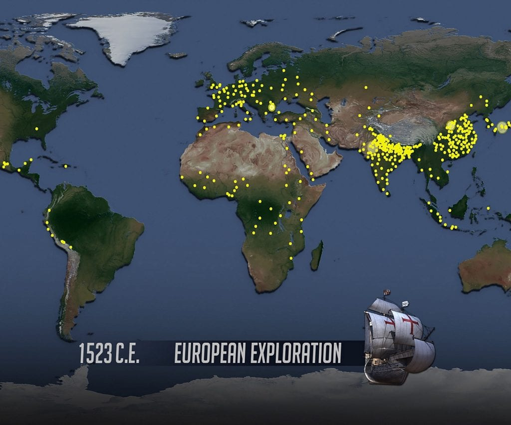 Map of world showing global population size in 1523; From 'World Population' video