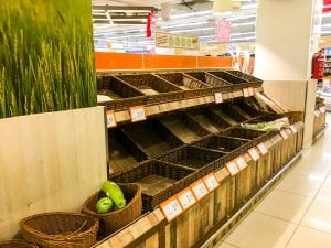 Empty grocery store produce aisle, Singapore