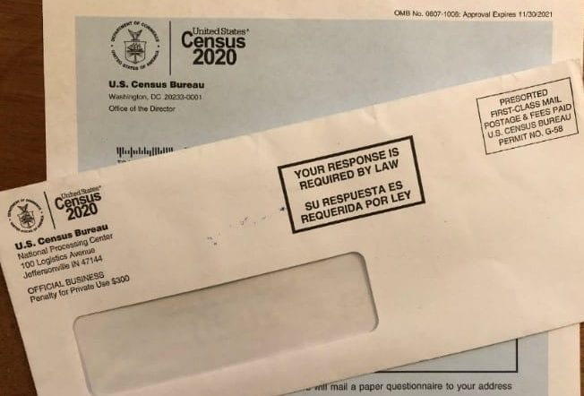 Picture of the 2020 Census letter that was mailed out in March