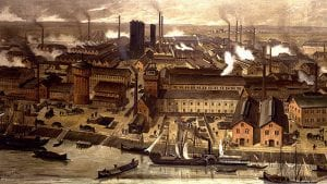 Illustration of the BASF-chemical factories in Ludwigshafen, Germany in 1881