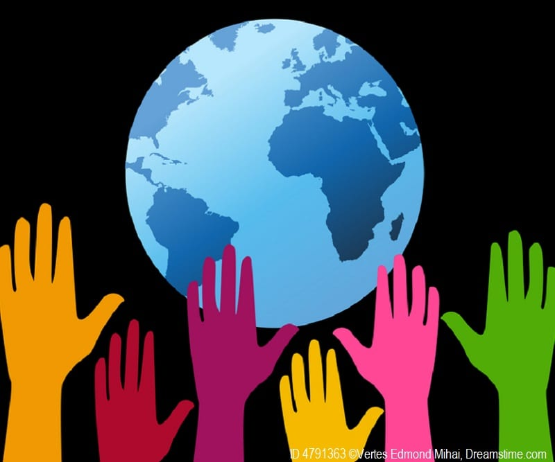 Colorful hands lift up for the Earth and young students learn how they can be stewards of the planet