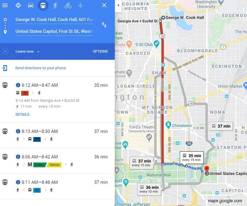 Students use Google Maps to explore transit options and calculate emissions