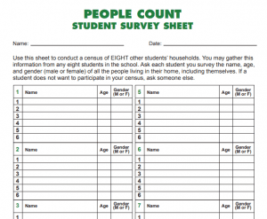 Worksheet is provided for elementary students to gather their own census data.