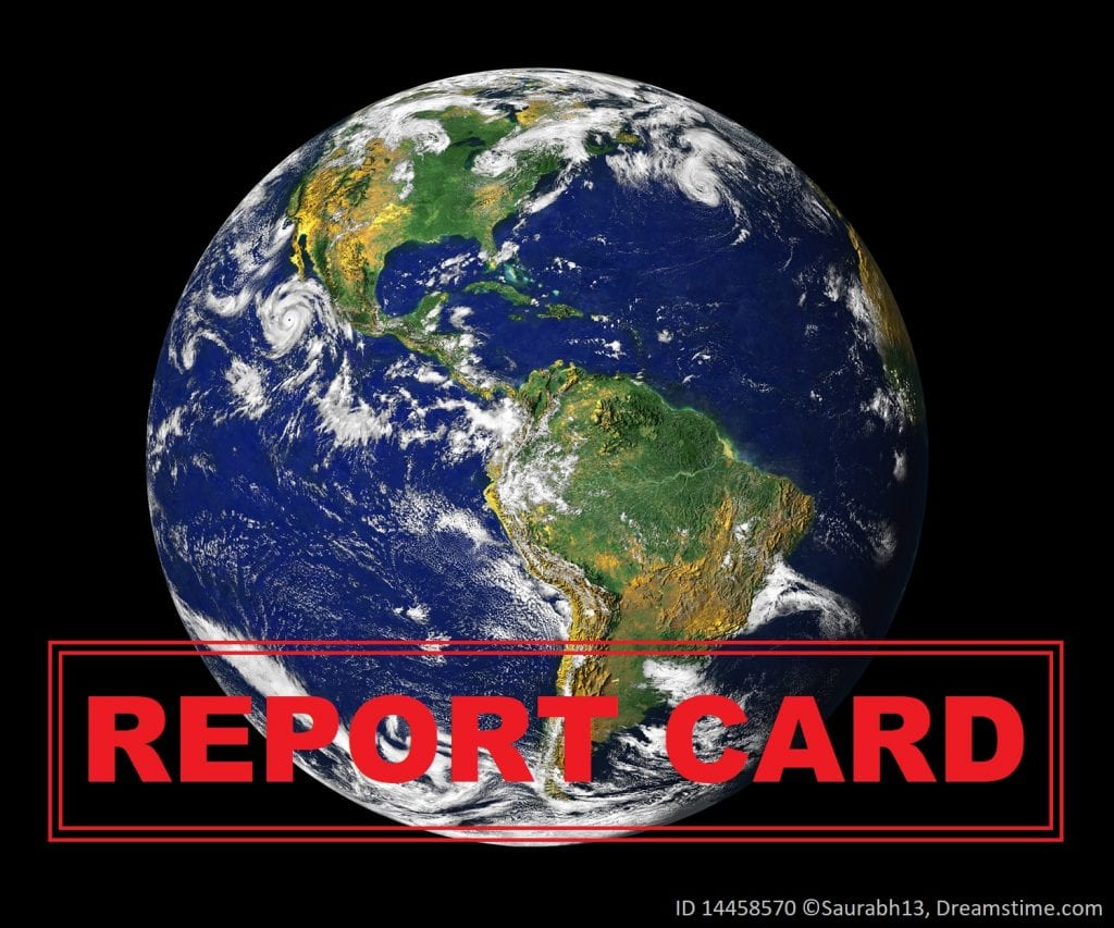 Student create a report card for the Earth, by gauging the health of the planet