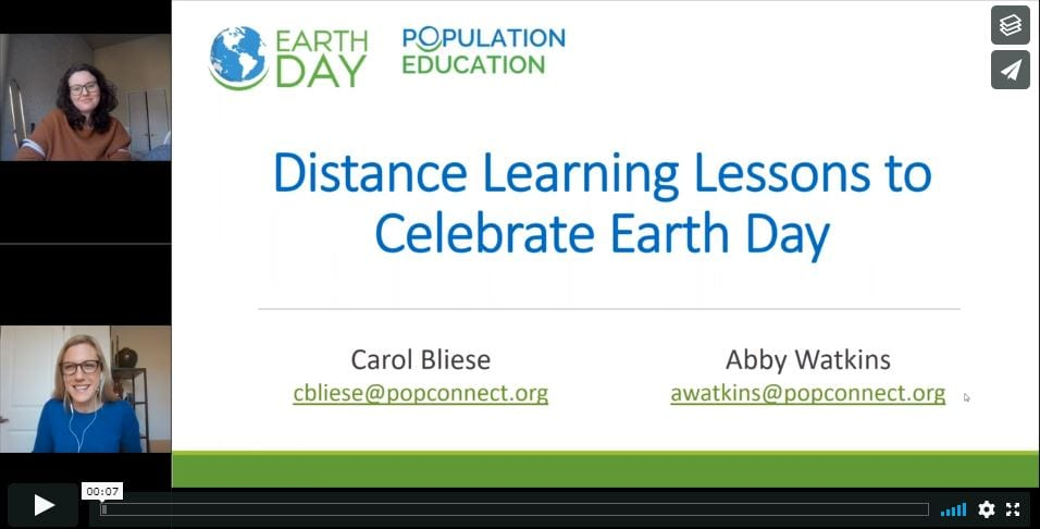 Screenshot from the webinar Distance Learning Lessons to Celebrate Earth Day